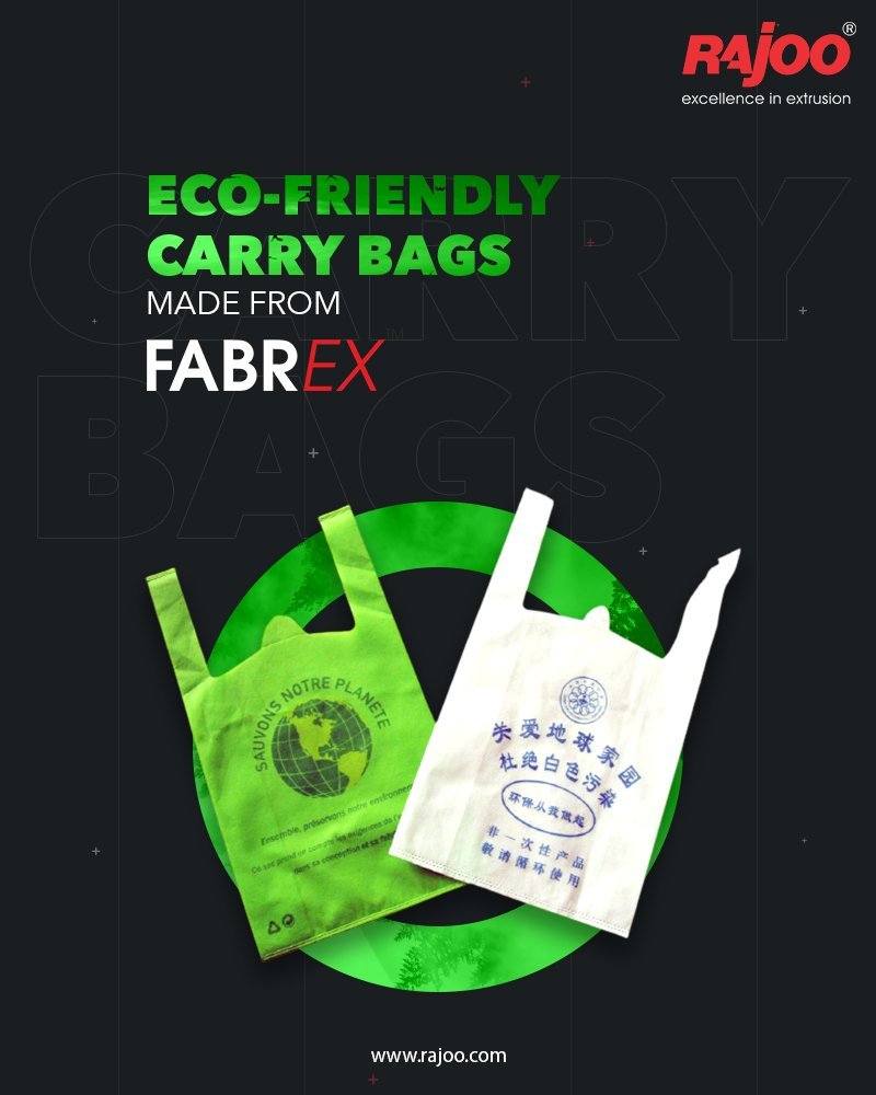 The carry bags made from Fabrex are reusable and eco friendly.  #RajooEngineers #Rajkot #PlasticMachinery #Machines #PlasticIndustry https://t.co/bHGeq0rG4C