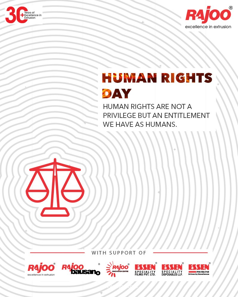 Human Rights are not a privilege but an entitlement we have as humans. #InternationalHumanRightsDay #HumanRightsDay #HumanRightsDay2020 #HumanRights #RajooEngineers #Rajkot #PlasticMachinery #Machines #PlasticIndustry https://t.co/04JzDfO5Lj