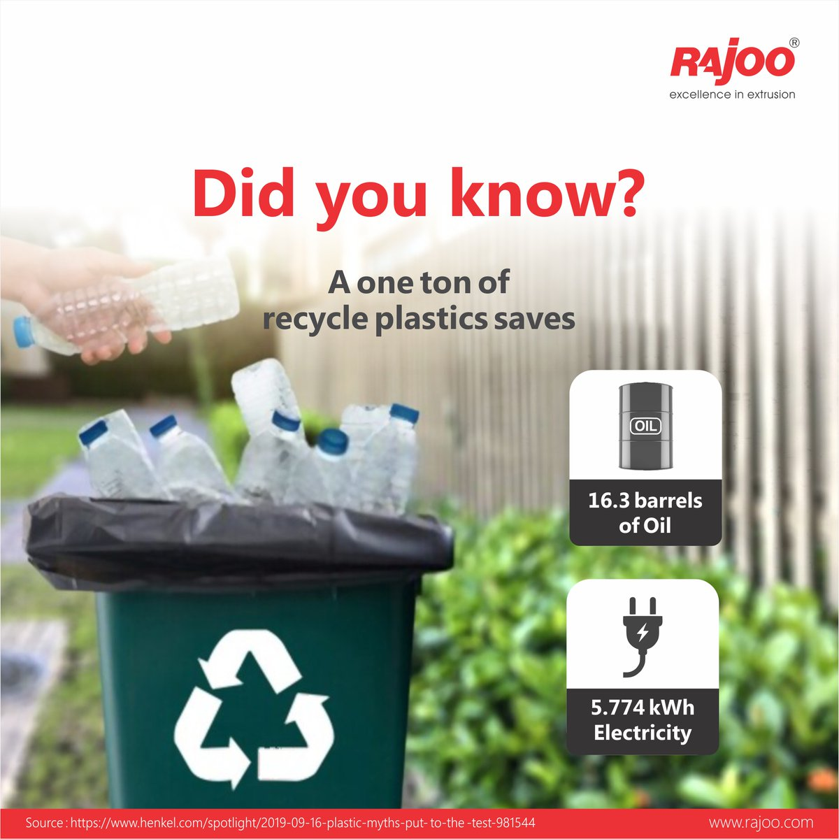 #DidYouKnow?  Recycling one ton of plastic saves 16.3 barrels of Oil and 5.774 kWh Electricity.  #BenefitsOfPlastic #RajooEngineers #Rajkot #PlasticMachinery #Machines #PlasticIndustry https://t.co/suuag5nB2s