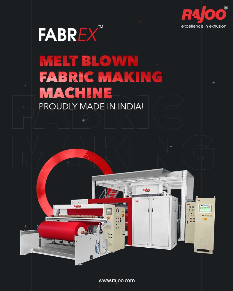 The efficient and great Melt Blown Fabric making Machine  Fabrex by Rajoo Engineers is proudly made in India It can be used for making hygiene products, medical products, home furnishing products, technical products and packaging products  #RajooEngineers #Rajkot #PlasticIndustry https://t.co/ztAh1KR7SA