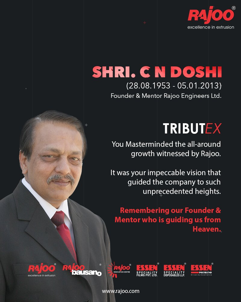 He Masterminded the all-round growth witnessed by Rajoo. It was his impeccable vision that guided the company to such unprecedented heights.  Remembering our Founder & Mentor who is guiding us from Heaven, Shri. C N Doshi #TributEx   #RajooEngineers #Rajkot #PlasticMachinery https://t.co/p9SvtD9Usg