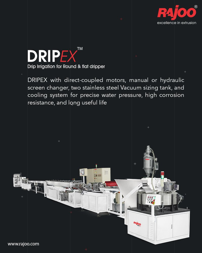 Dripex by Rajoo Engineers comes with direct-coupled motors, manual or hydraulic screen changer, two stainless steel Vacuum sizing tank, and cooling system for precise water pressure, high corrosion resistance and long useful life #RajooEngineers #Rajkot #Machines #PlasticIndustry https://t.co/ddeWWsMlJI