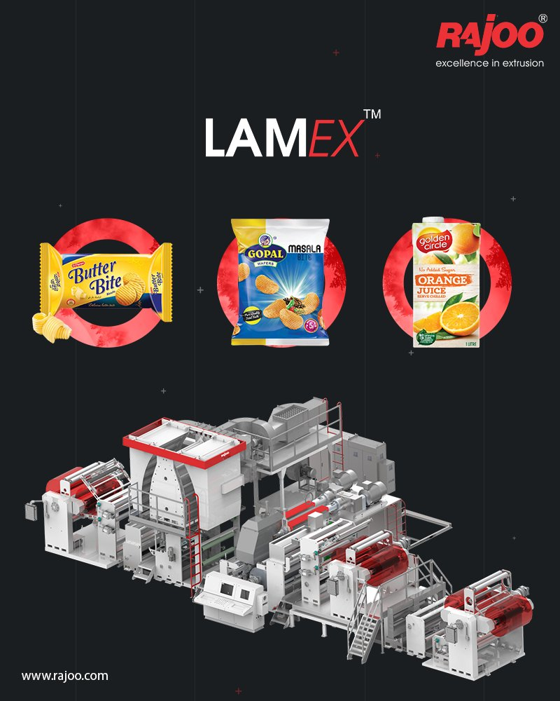Lamex by Rajoo Engineers can be used to make packaging for biscuits, wafers, juice cartons, & more.  To know more, follow the link https://t.co/ZyTB8nG8xz  #Lamex #RajooEngineers #Rajkot #PlasticMachinery #Machines #PlasticIndustry https://t.co/qS2X5xYWQF