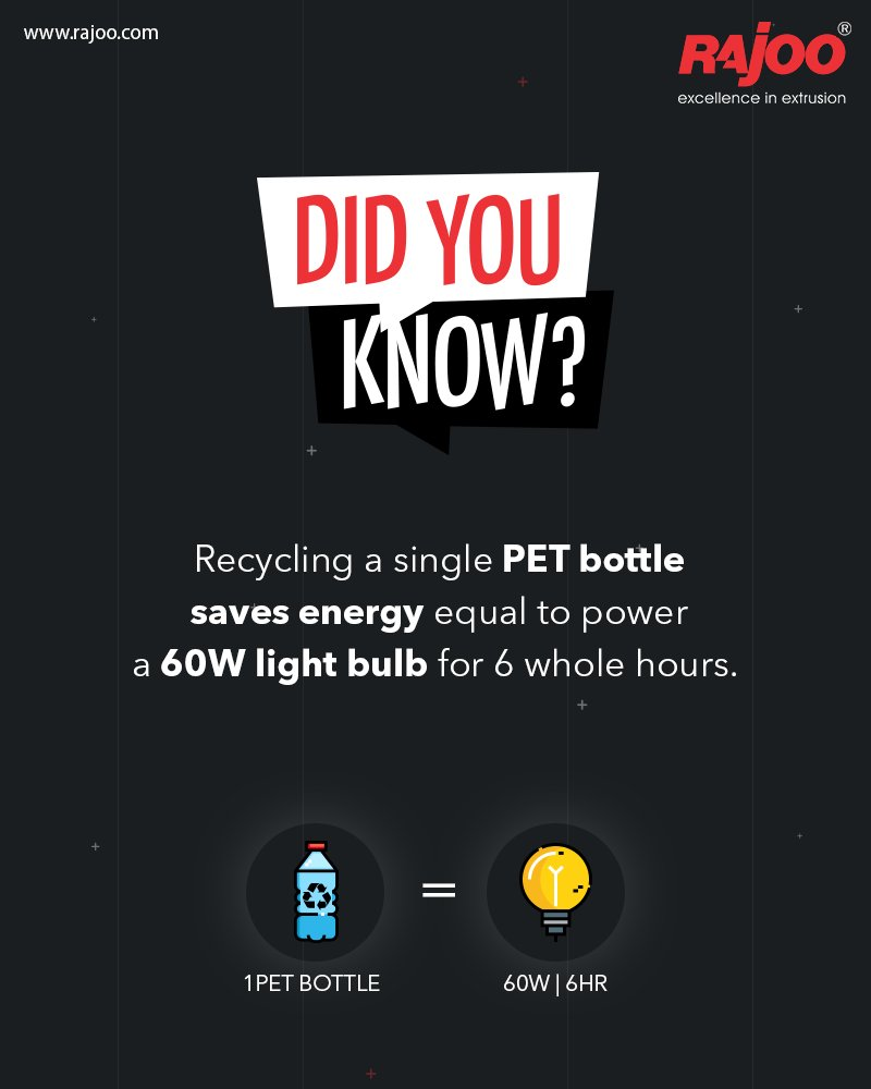 Did You Know?  Recycling a single PET bottle saves energy equal to power a 60W light bulb for 6 whole hours.  #BenefitsOfPlastic #RajooEngineers #Rajkot #PlasticMachinery #Machines #PlasticIndustry https://t.co/NA3QLkgdfY