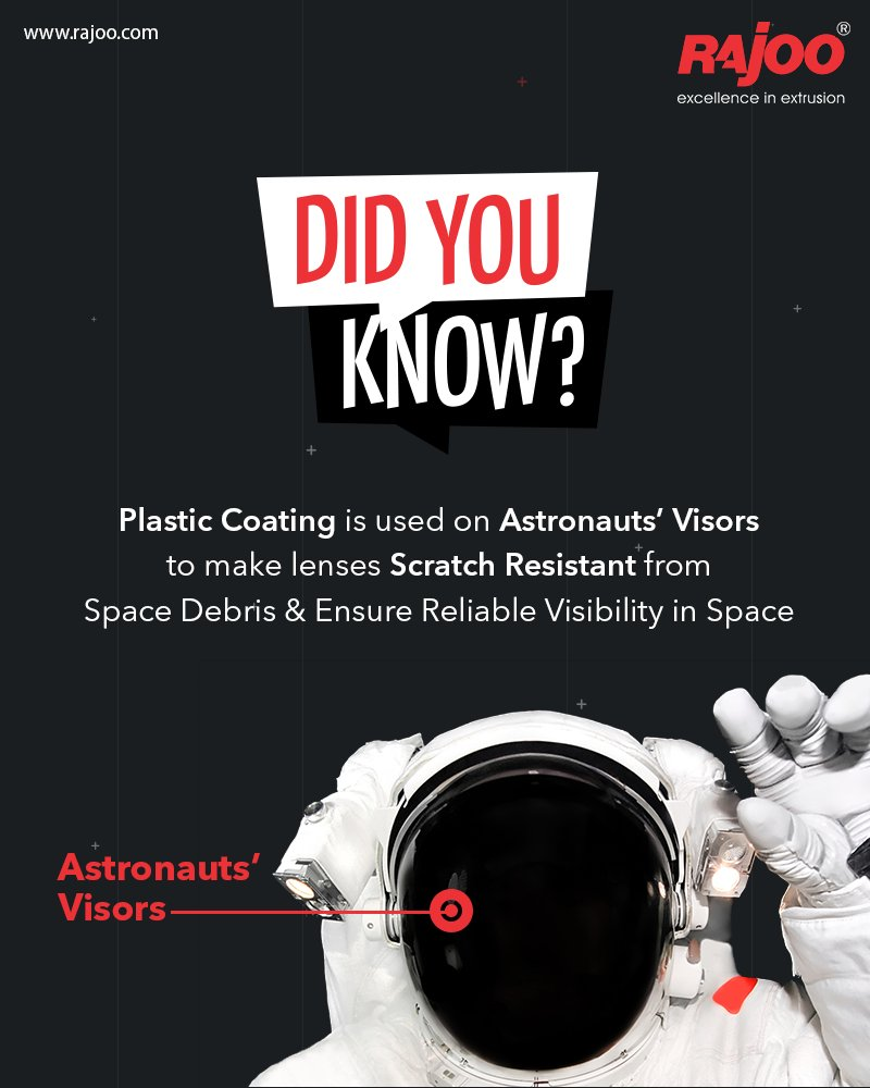 Did You Know?  Plastic Coating is used on Astronauts' Visors to make lenses Scratch Resistant from Space Debris & Ensure Reliable Visibility in Space  #RajooEngineers #Rajkot #PlasticMachinery #Machines #PlasticIndustry https://t.co/FuSpu5EYjZ