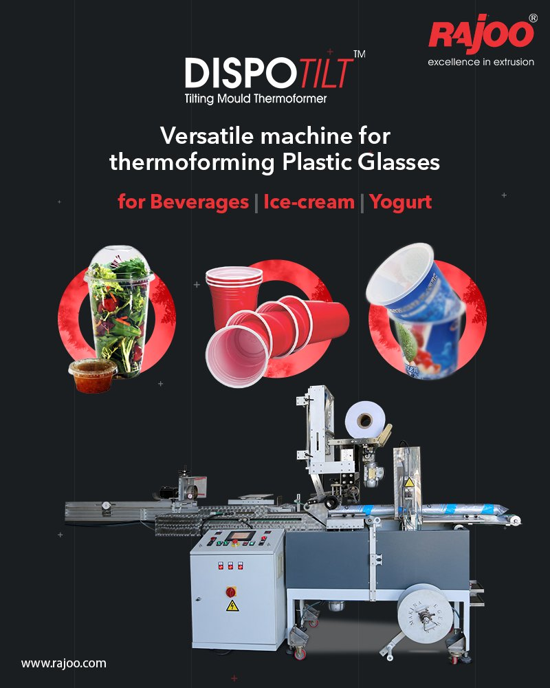 Dispotilt by Rajoo Engineers is an apt machine for thermoforming Plastic Glasses for Beverages, Ice-cream, Yogurt, and more.  #RajooEngineers #Rajkot #PlasticMachinery #Machines #PlasticIndustry https://t.co/jZd6i2Cw7b