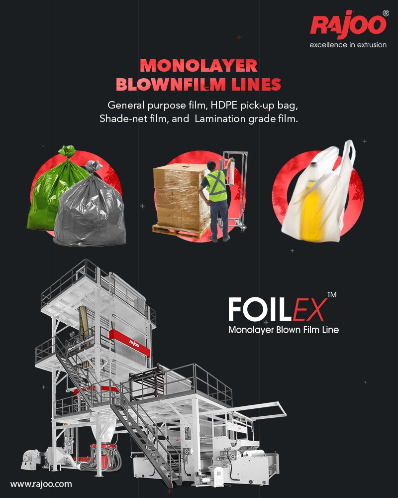 Rajoo offers widest range of customized monolayer blown film lines – FOILEX, to suit a broad spectrum of resins, applications and output levels.  #RajooEngineers #Rajkot #PlasticMachinery #Machines #PlasticIndustry. https://t.co/KS8dt4jJU8
