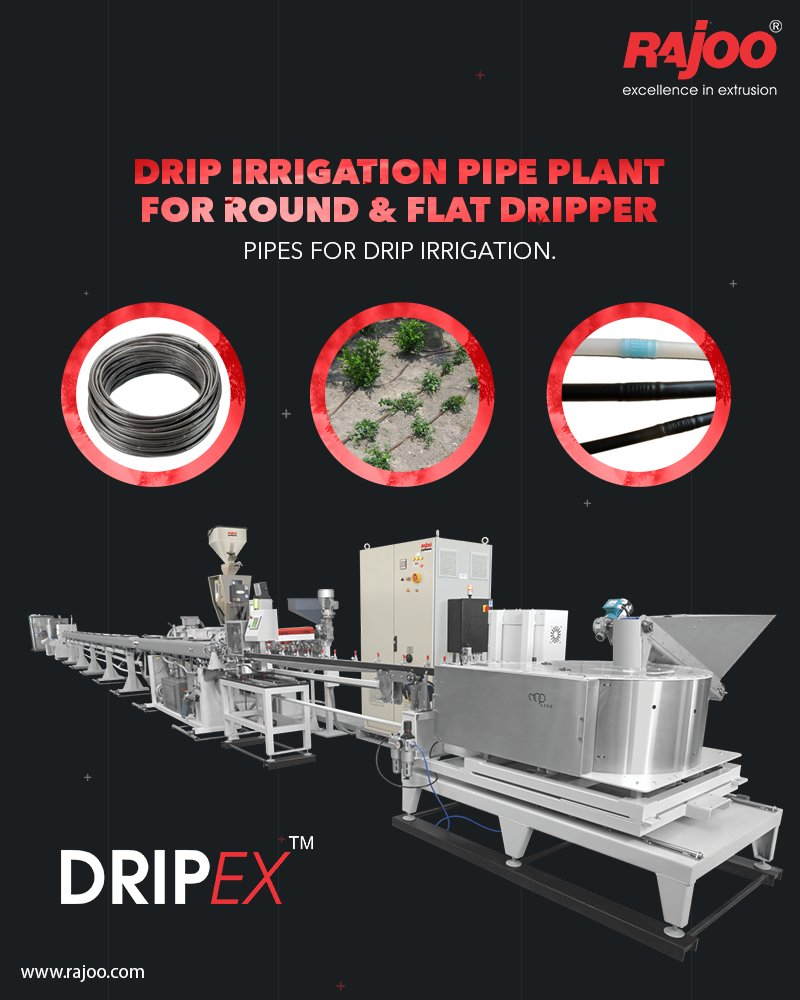 Dripex - Drip Irrigation Pipe Plant extruders are offered with direct coupled motors, manual or hydraulic screen changer, two stainless steel Vacuum sizing tank and cooling system for precise water pressure, high corrosion resistant and long useful life.  #RajooEngineers #Rajkot https://t.co/G6abEOde7K