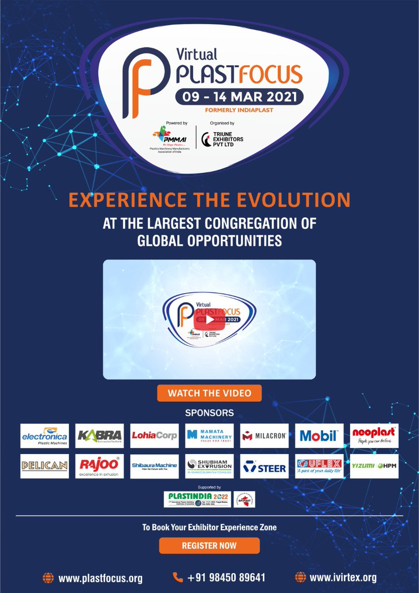 Get excited for the biggest virtual exhibition of plastic industry Plastfocus 2021.   To participate register now https://t.co/sN1P9t7bUM  #PlastFocus #RajooEngineers #Rajkot #PlasticMachinery https://t.co/c5NdgLsI8i