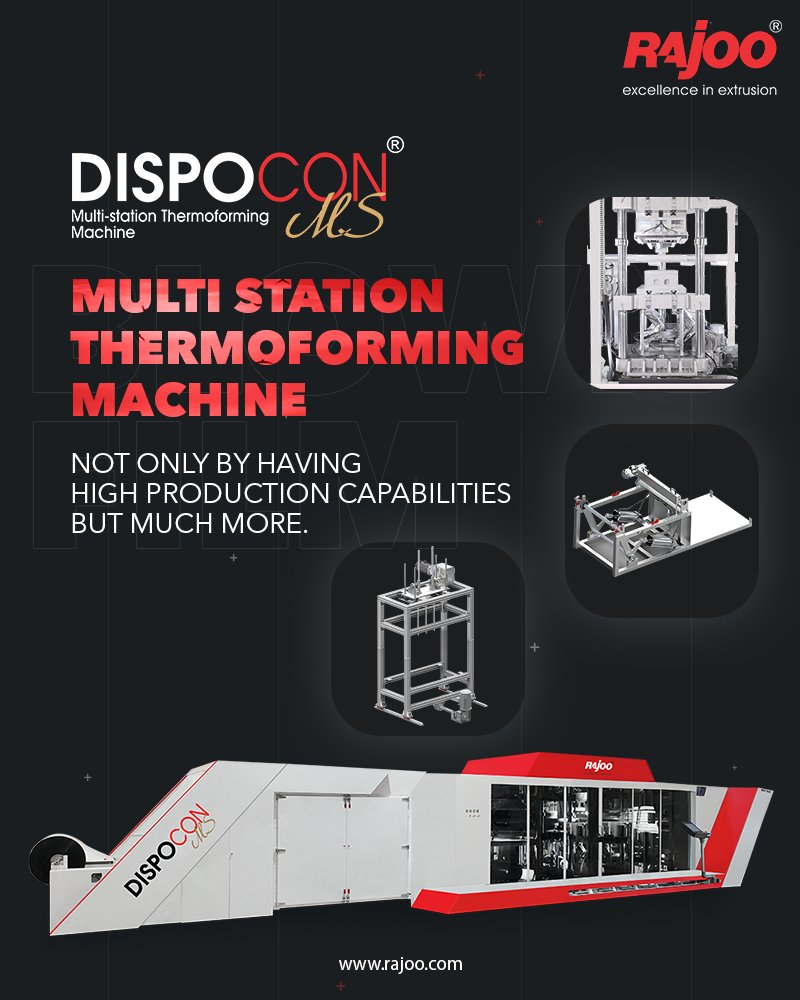 Multi station thermoforming machine is a long-awaited fully automatic thermoforming machine with steel rule die cutting technology, designed to specifically meet the demands of production in multi-station operation.   #RajooEngineers #Rajkot #PlasticMachinery #PlasticIndustry https://t.co/4opazLqTdY