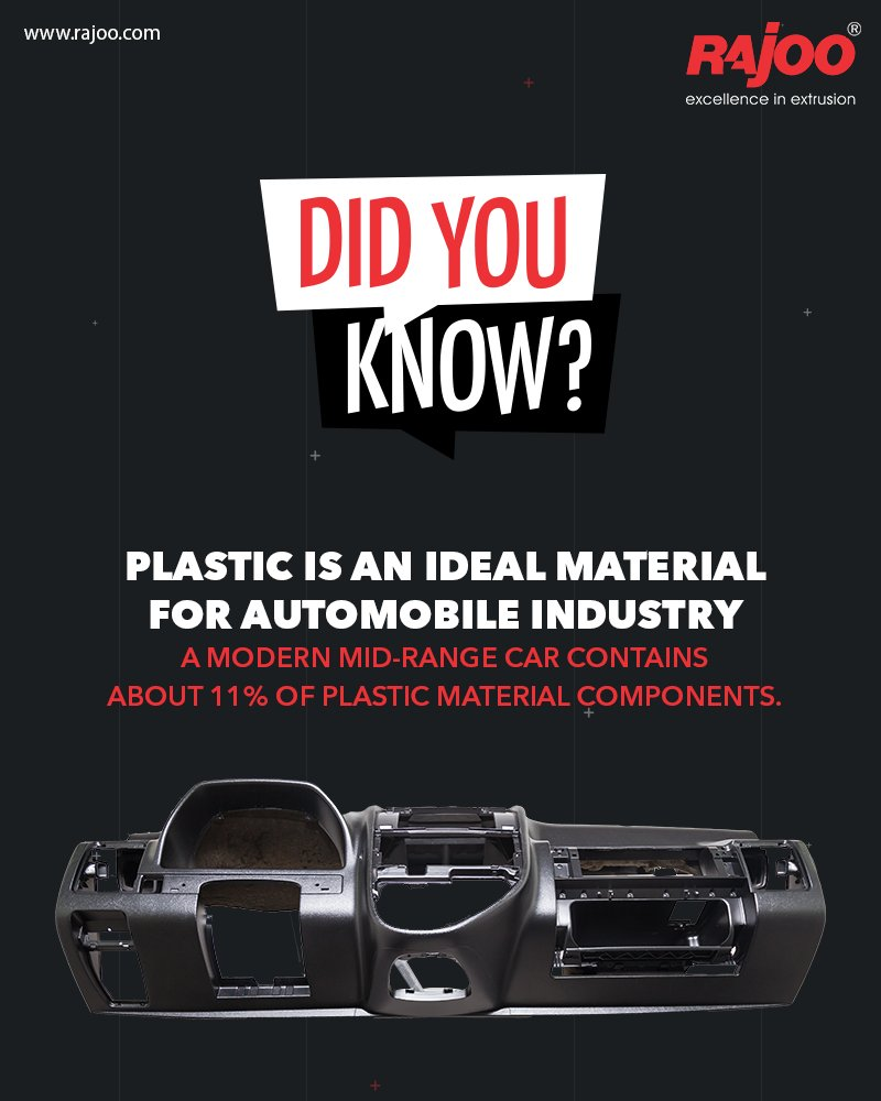 Plastic is an ideal material for use in car manufacturing. A modern mid-range car contains about 11% of plastic material components. That means less weight, less fuel consumption, and therefore less CO2 emissions.  #RajooEngineers #Rajkot #PlasticMachinery #PlasticIndustry https://t.co/K4xg6uDUaf