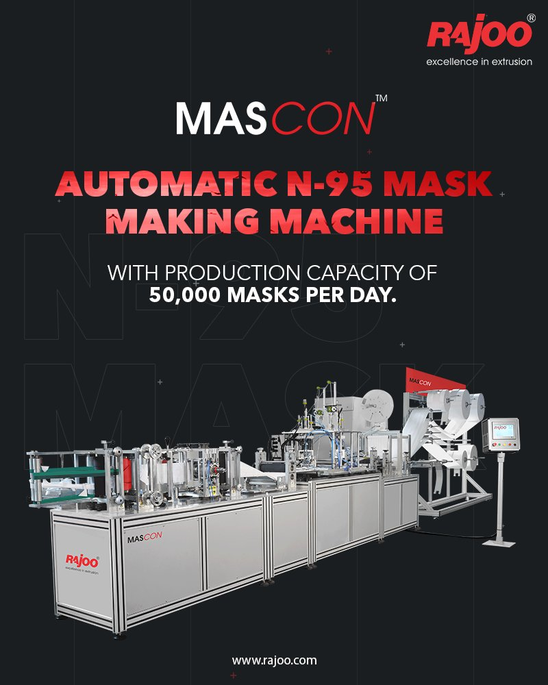 N-95 masks made on Rajoo's machines are designed to achieve a very close facial fit and extremely efficient filtration of airborne droplets and particles. The edges of the respirator are designed to form a seal around the nose and mouth.  #RajooEngineers #Rajkot #PlasticMachinery https://t.co/LjpFV6cDMr