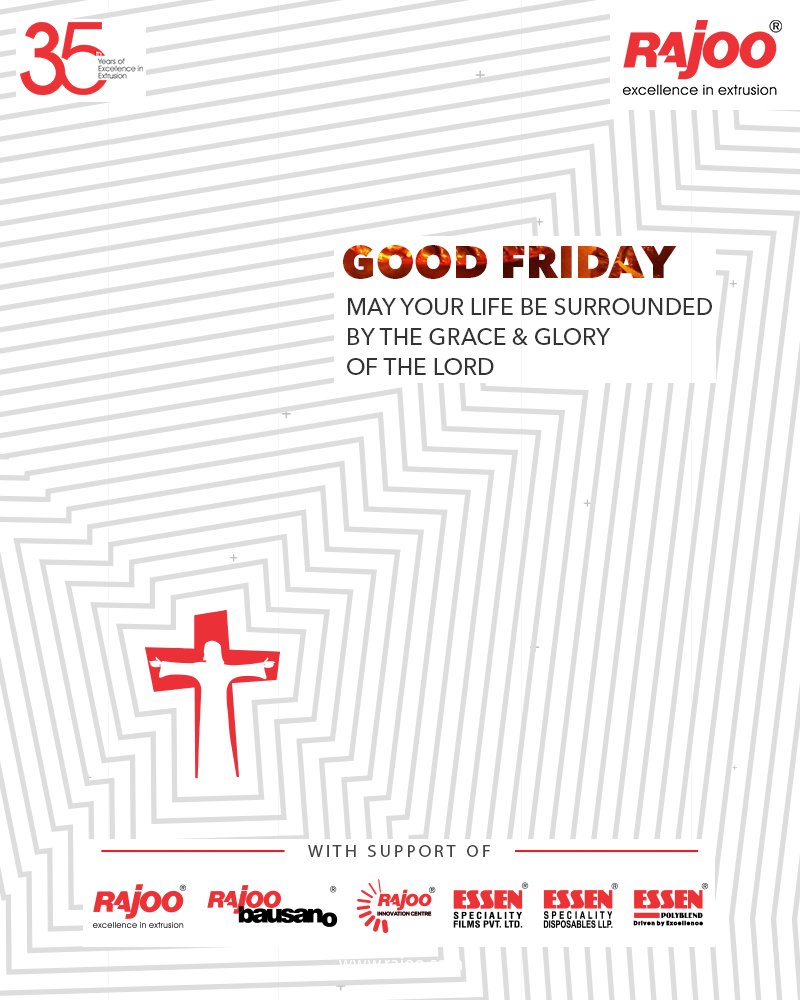 May your life be surrounded by the grace & glory of the Lord  #GoodFriday #GoodFriday2021 #RajooEngineers #Rajkot #PlasticMachinery #Machines #PlasticIndustry https://t.co/OkSxUhlCwk