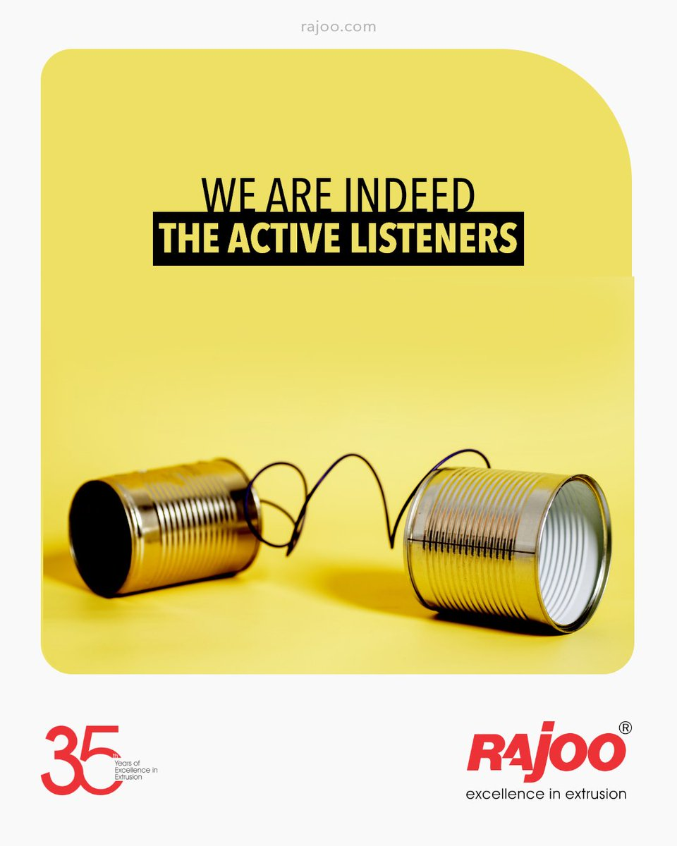 One of the most sincere forms of respect and aspect of customer satisfaction is listening to what the patrons have to say!  We are indeed the active listeners.  #RajooEngineers #Rajkot #PlasticMachinery #Machines #PlasticIndustry https://t.co/iv8mRBgvXZ