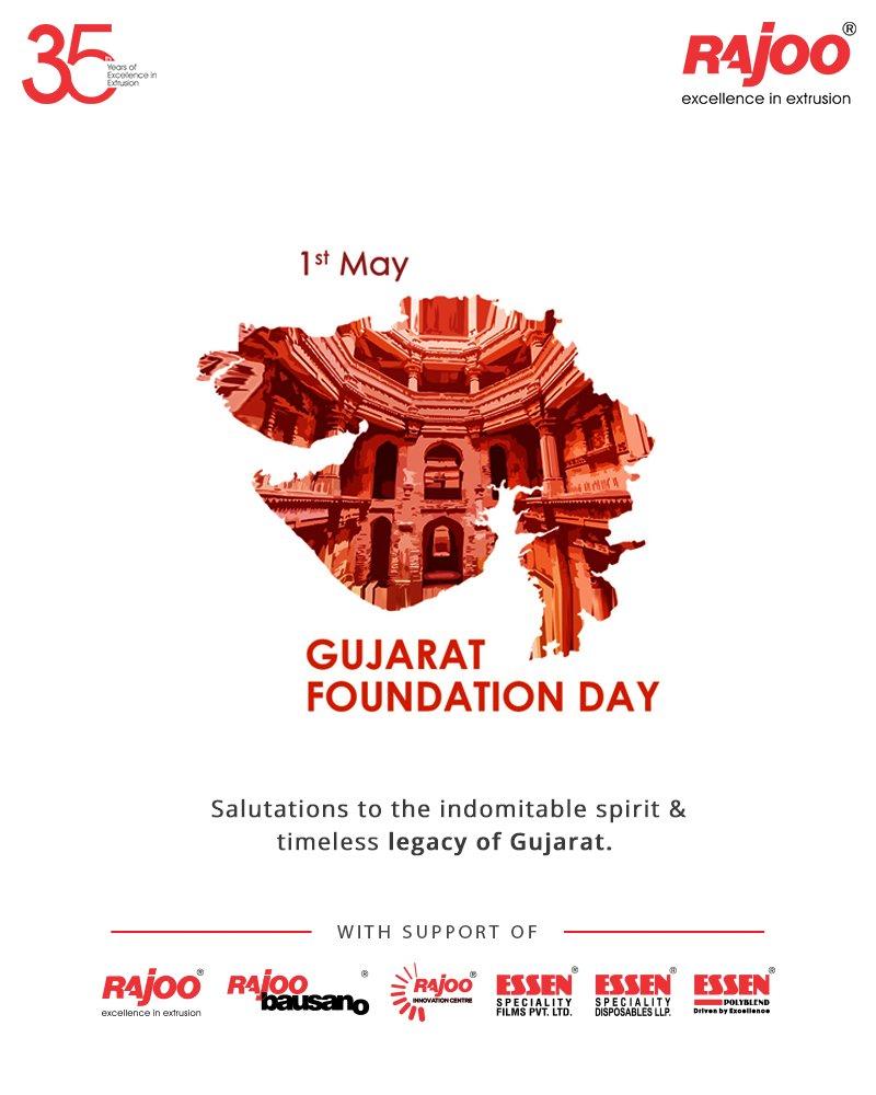 Salutations to the indomitable spirit & timeless legacy of Gujarat.  #GujaratDay #GujaratFoundationDay #GujaratDay2021 #RajooEngineers #Rajkot #PlasticMachinery #Machines #PlasticIndustry https://t.co/mnep1COmBt