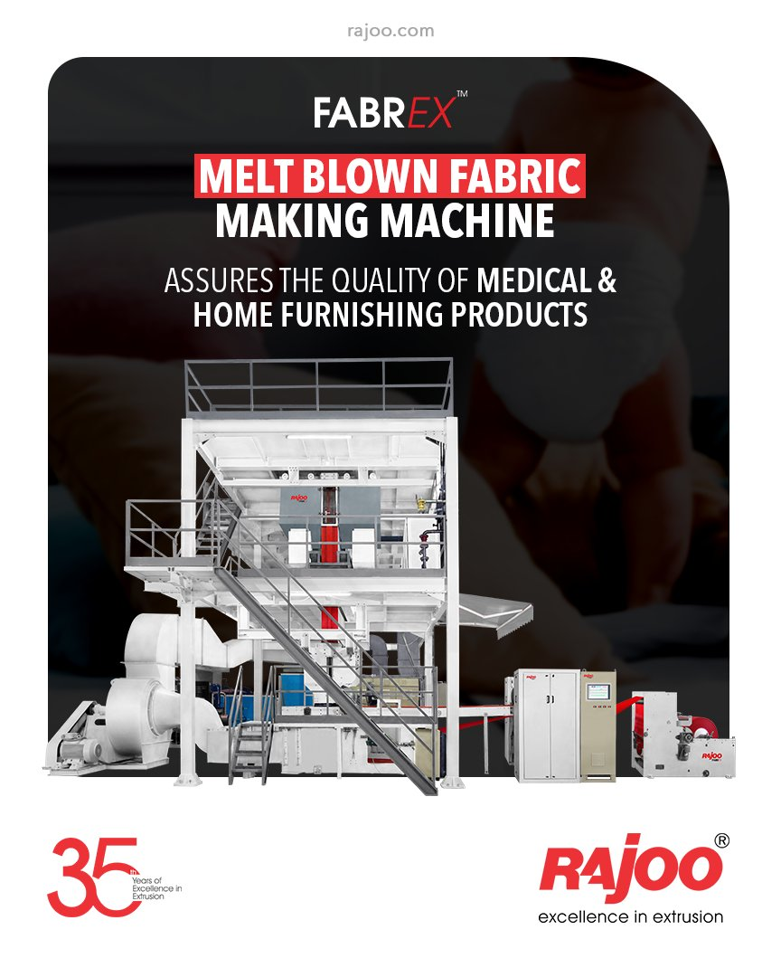 Quality is always our priority!  The Melt Blown Fabric Making Machine of FABREX nonwoven lines are designed to assure the quality of medical & home furnishing products while manufacturing.  #RajooEngineers #Rajkot #PlasticMachinery #Machines #PlasticIndustry https://t.co/dpXqSnSKR0