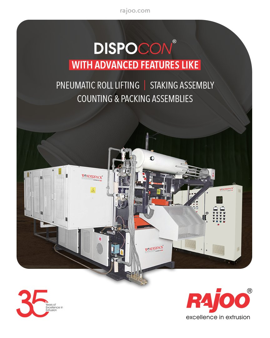 The PP/PS/PET Container Thermoformer from Rajoo Engineers, Dispcon, comes equipped with advanced features such as pneumatic roll lifting, staking assembly, counting & packing assemblies.   #RajooEngineers #Rajkot #PlasticMachinery #Machines #PlasticIndustry https://t.co/cXoQ5TL0Id