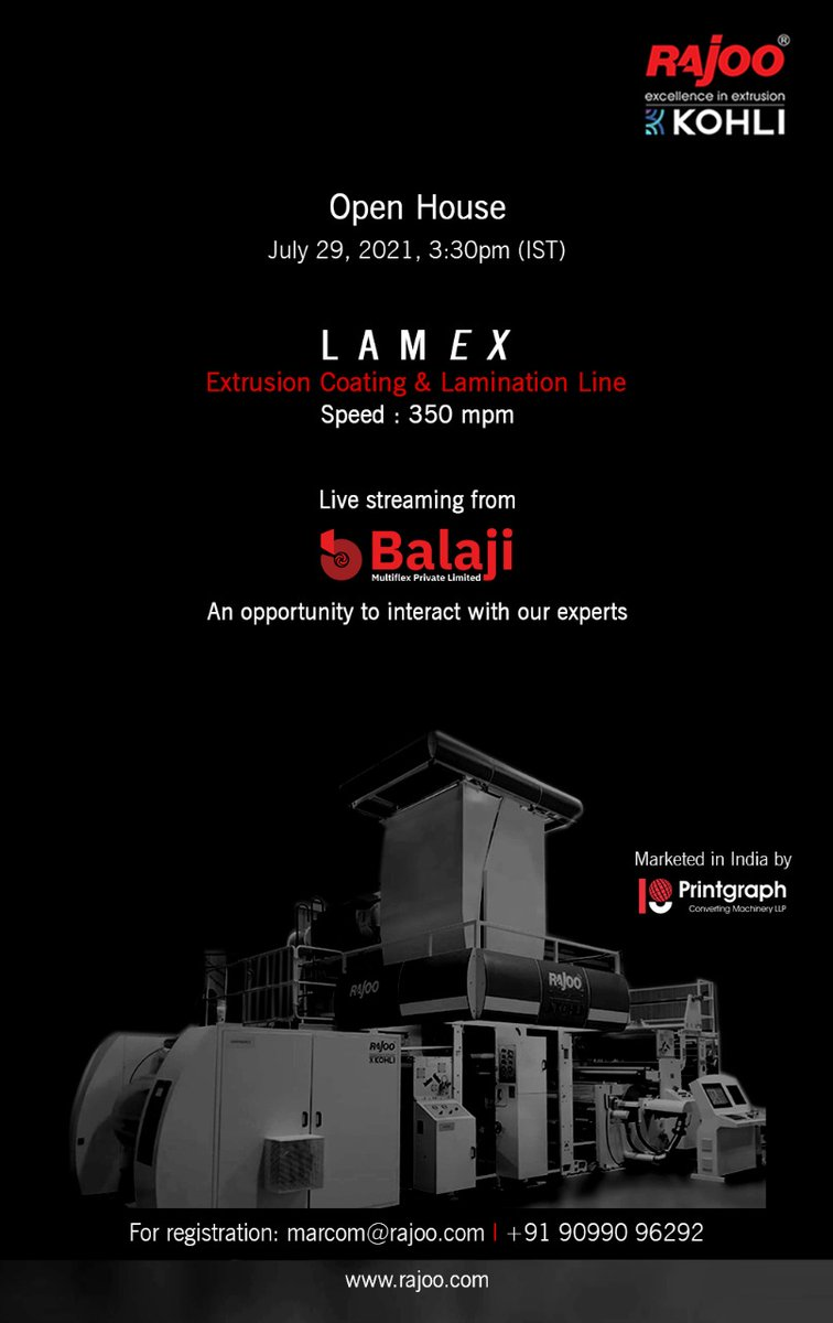 Witness live streaming from our customer Balaji Multiflex Pvt. Ltd. and ask your questions in an interactive session with our experts.  Block Your Calendar: Thursday, July 29, 2021 @3:30pm(IST)  Register now: https://t.co/aMlR6toktk  #RajooEngineers #Rajkot #PlasticMachinery https://t.co/gho6vyAvgV