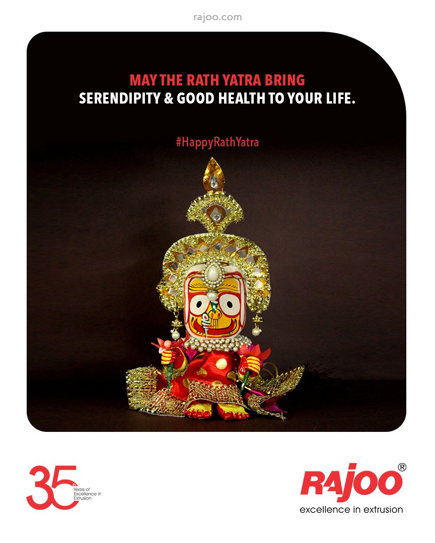 May the Rath Yatra bring Serendipity & Good Health to your Life.  #rathyatra #jagannath #jaijagannath #lordjagannath #rathyatra2021 #chariot #indianfestivals #jagannathrathyatra #RajooEngineers #Rajkot #PlasticMachinery #Machines #PlasticIndustry https://t.co/ekUUGwq78l