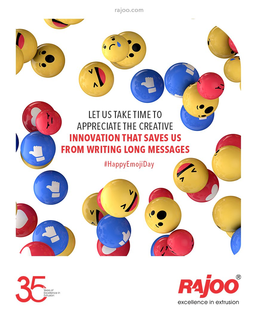 Let us take time to appreciate the creative innovation that saves us from writing long messages  #WorldEmojiDay #EmojiDay #WorldEmojiDay2021 #RajooEngineers #Rajkot #PlasticMachinery #Machines #PlasticIndustry #StayTuned #Exhibition https://t.co/Ajr8MWXIae