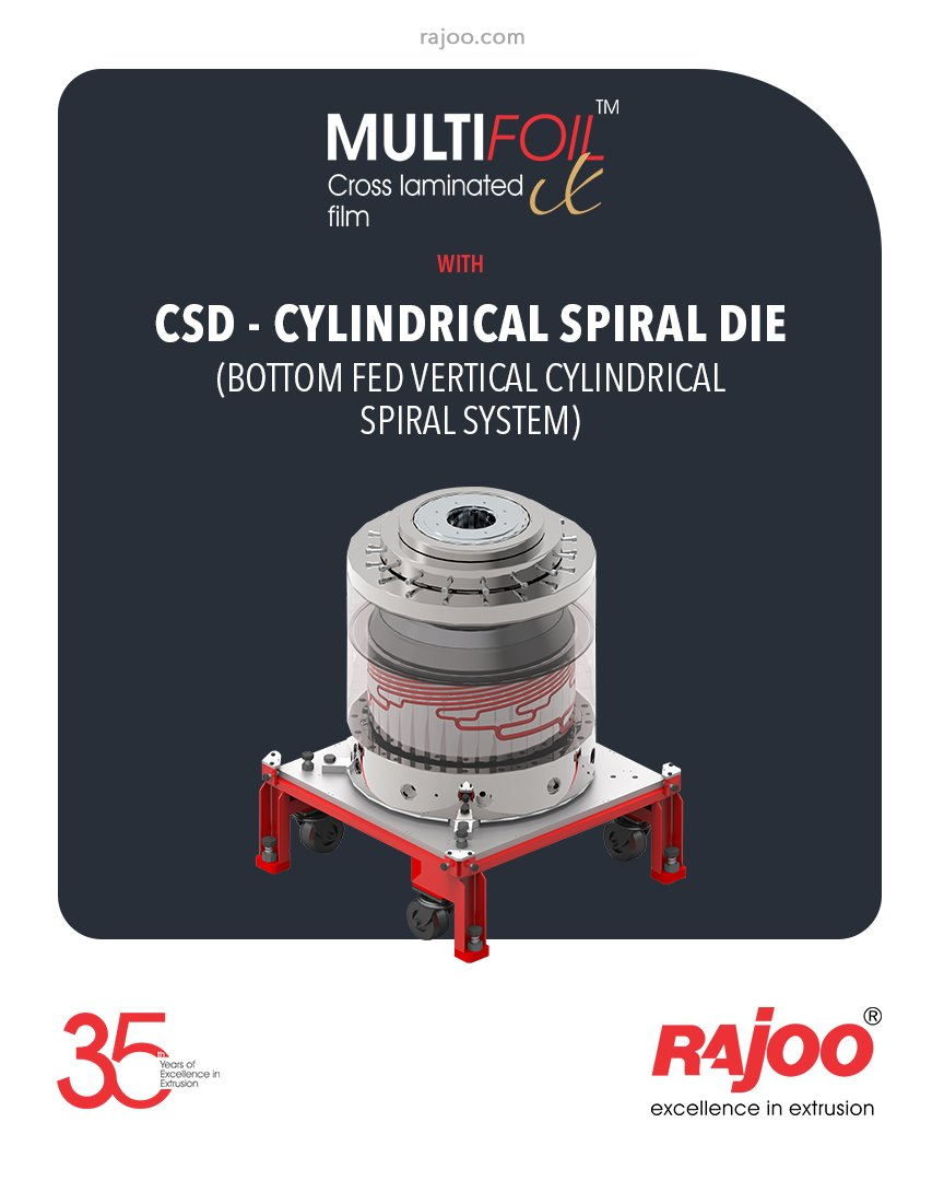 Multifoil X – 3 layer blown film extruders are equipped with CSD - Cylindrical Spiral Die (bottom fed vertical cylindrical spiral system).  #RajooEngineers #Rajkot #PlasticMachinery #Machines #PlasticIndustry https://t.co/ed09p5y6We