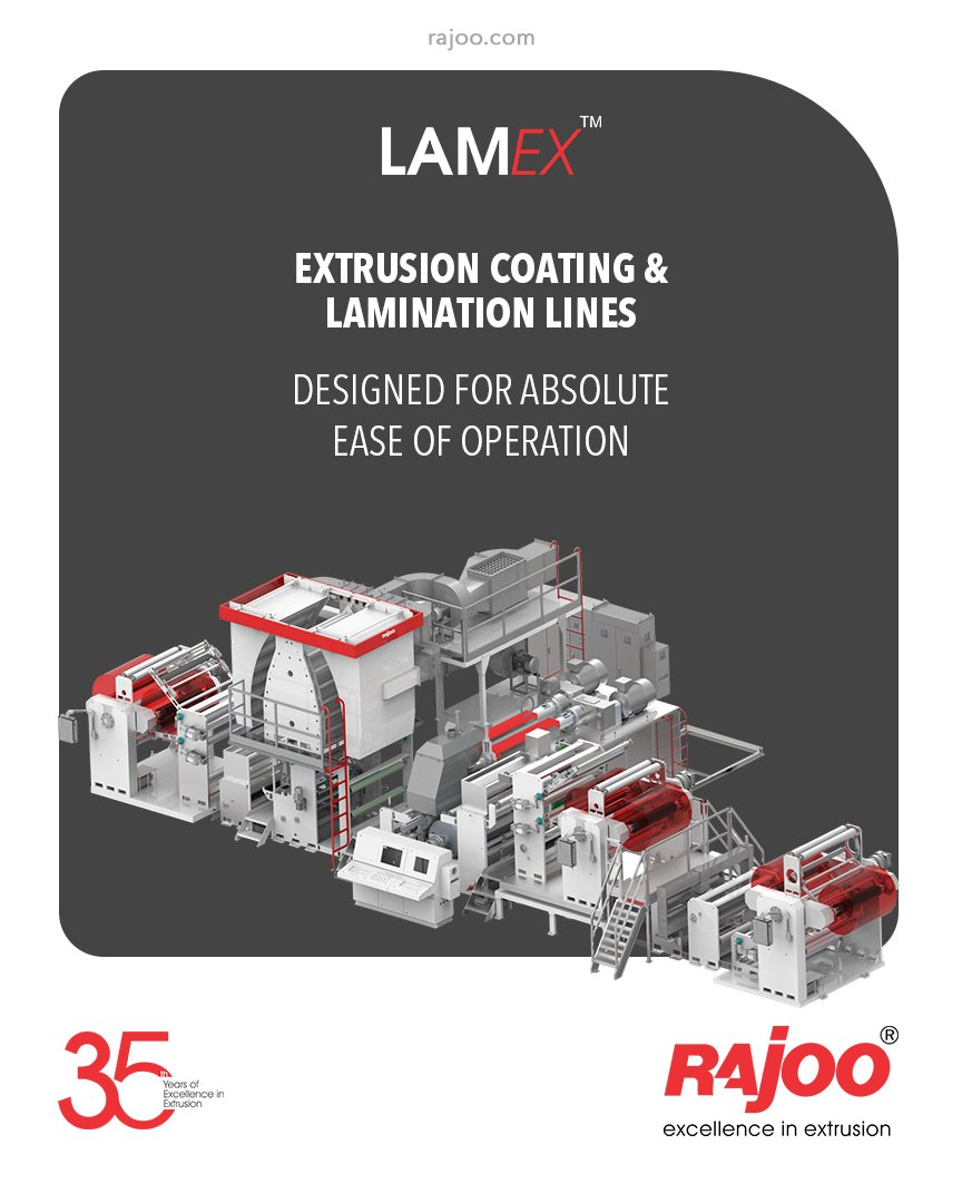 LAMEX series of extrusion coating and lamination lines are designed for absolute ease of operation and are available in a host of configurations to suit individual customer's requirements for width, line speed from & lamination of various substrates.   #RajooEngineers #Rajkot https://t.co/WwpG3kw4XQ