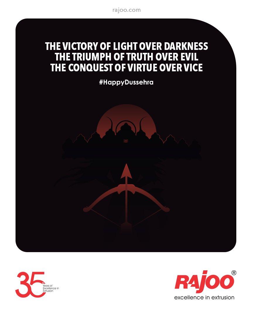 The victory of light over darkness,The triumph of truth over evil, The conquest of virtue over vice.  #HappyDusshera #Dusshera2021 #VijayaDashami #Festival #IndianFestivals #IndianCulture #FestiveSeason #FestiveVibe #Celebrations #RajooEngineers #Rajkot #Machines #PlasticIndustry https://t.co/vrvv1Q7yI1